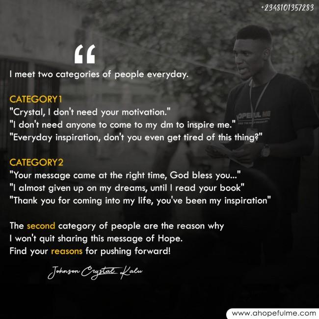 Find Reasons to keep pushing forward