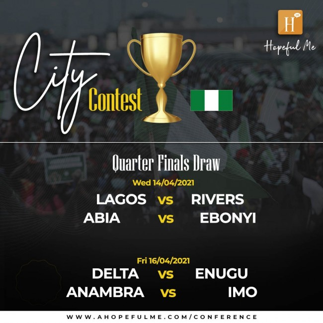 City contest Quarter finals draw.